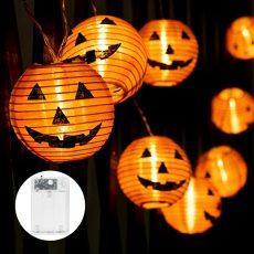 Halloween Pumpkin Lanterns String Lights, 20 LEDs Battery Powered Holiday String Lights, Orange Pumpkin Lights