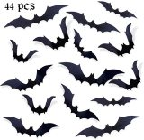 44 pcs Bats Wall Stickers, 3D Bat Halloween Decoration Stickers for Home Decor, 4 Size Waterproof Black Bats