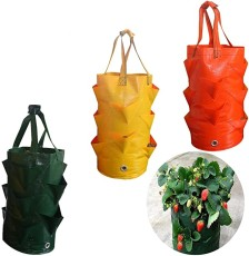 Strawberry Planting Bags, 3 Gallons Gardening Flower Planting Bag, Breathable Vegetable Round Reusable Pot Planter Bags