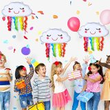 4 pcs Rainbow Cloud-Shaped Foil Balloons, Big Happy Birthday Swan Party Balloons, Birthday Decoration