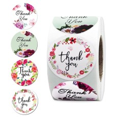 Thank You Label Sticker Roll, 1.5  Round Decorative Sealing Stickers, 500pcs Thank You Stickers for Gift