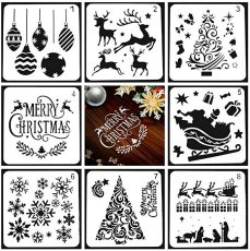 Christmas Stencils Template Set, 8 Pcs Different Christmas Style Stencils for Painting, Reusable Plastic Craft Xmas Painting Stencils