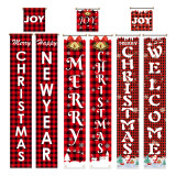 Christmas Porch Sign Set, Red Buffalo Check Plaid Porch Signs, Xmas Hanging Decorations for Home