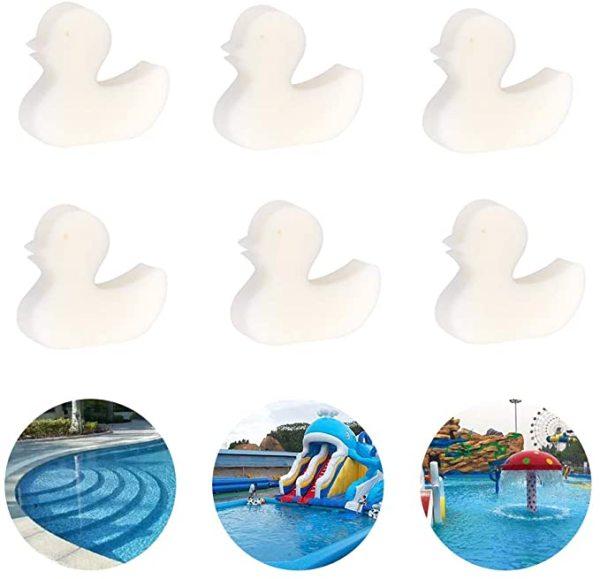 6 pcs Oil-absorbing Sponge, Duck Shaped Scum Sponge For Swimming Pool, Reusable Scum Disc Cleaner for Hot Tub