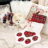 Pet Dog Christmas Stocking, Hanging Christmas Stocking with Large Paw, Christmas Tree Ornaments 18 x 11 Inches