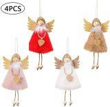 4PCS Christmas Doll Hanging Angel, Angel Doll Pendant House Ornaments, Cute Tags Plush Doll for Christmas Tree