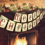 Merry Christmas Banner,  Vintage Xmas Decorations for Fireplace, Merry Christmas Banner Decoration for Wall Tree