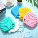 Face Covering Storage Case, Reusable Silicone Mask Storage Box, Shell Shape Pollution Prevention Storage Clip for Face Covering