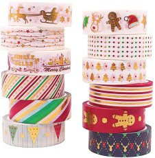 Christmas Washi Tape Set, 12Rolls Merry Christmas Masking Tape, 15mm Glod Foil Decorative Washi Tape