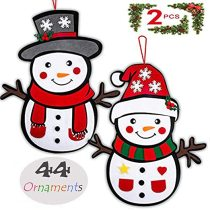 2 Pack DIY Puzzles Toys Felt Snowman, Felt Christmas Puzzles for Kids, Hanging Decorations with 44 Detachable Ornaments