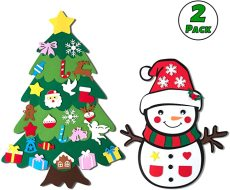 DIY Felt Christmas Tree & Snowman Set, 2 Pack Xmas Gifts for Kids, Xmas Decorations Wall Hanging Ornaments