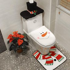 3-Piece Christmas Snowman Toilet Seat Cover, Christmas Toilet Set, Xmas Decorative Supplies for Bathroom