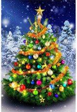 5D DIY Christmas Tree Diamond Painting, Full Drill Diamond Rhinestone Painting Kits, Diamond Arts Craft