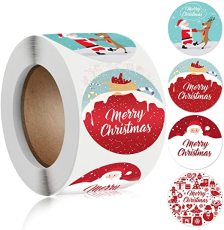 Merry Christmas Stickers Labels Roll, 1.5 Inch 4 Designs Round Christmas Tags, 500 Adhesive Xmas Decorative Envelope Seals Stickers