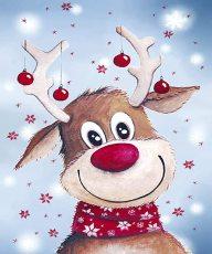 5D DIY Christmas Elk Diamond Painting, Full Drill Diamond Rhinestone Painting Kits, Diamond Arts Craft 12 x 16 Inches