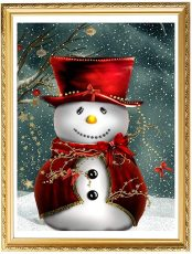 5D DIY Christmas Snowman Diamond Painting, Full Drill Diamond Rhinestone Painting Kits, Diamond Arts Craft 12 x 16 Inches