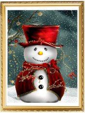 5D DIY Christmas Snowman Diamond Painting, Full Drill Diamond Rhinestone Painting Kits, Diamond Arts Craft 12 x 16 Inches