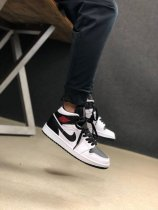 Nike Air Jordan 1 Mid Reverse Black Toe Sneakers White Black