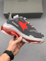 Balenciaga Triple S Clear Sole Sneakers Charcoal Gray Burgundy