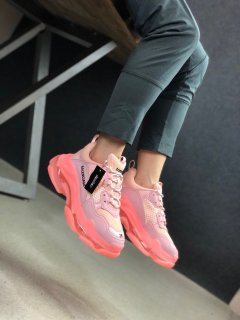 Balenciaga Triple S Clear Sole Sneakers Pink