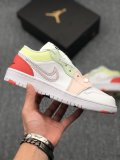 Womens Nike Air Jordan 1 Low White Pink Green Sneakers