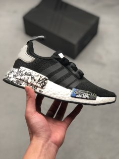 Adidas NMD R1 Black Graffiti Trainers