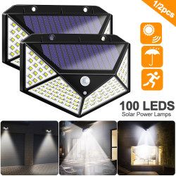 100 LED Solar Light Outdoor Solar Lamp Powered Sunlight 3 Modes PIR Motion Sensor for Garden Decoration Wall Street Waterproof Emergency Garden Yard Lamps-TopLite