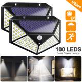 100 LED Solar Light Outdoor Solar Lamp Powered Sunlight 3 Modes PIR Motion Sensor for Garden Decoration Wall Street Waterproof Emergency Garden Yard Lamps-TopLite