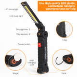 300 Lumen LED Work Light Bar Car Lamp Rechargeable Magnetic COB 5 Mode Torch Handheld Inspection Lamp Cordless Work Light Tool Multifunction-TopLite