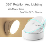 Rechargeable 360 Degree Rotating Motion Sensor Night Light Motion-Activated LED Lights with Back Adhesive Magnetic Connection Stick-on Anywhere for Kitchen Stairs Path Washroom-TopLite TOP006