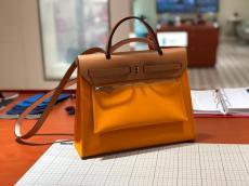 real shot hermes herbag 31 replica croosbody handbag high quality in in canvas and cowhide leather pure hand wax-thread sewing