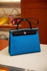 real shot hermes herbag replica croosbody handbag high quality in in canvas and cowhide leather pure hand wax-thread sewing