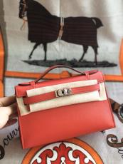 hermes mini kelly20 replica crossbody handbag in swift leather silver and  aureate hardware