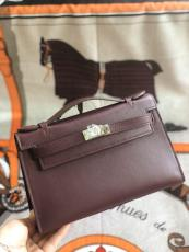 wine red hermes mini kelly20 replica crossbody handbag in swift leather aureate hardware pure hand wax-thread sewing