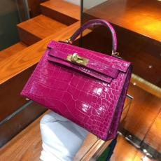 real shot hermes mini kelly20 high-quality replica in alligator leather silver and golden hardware multicolor for option
