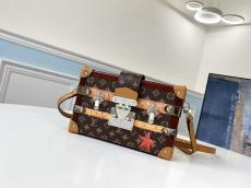 Louis Vuitton/LV retro chequer petite malle crossbody box bag gold hardware