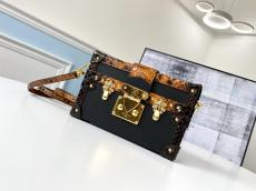 real shot louis Vuitton/LV petite malle shoulder crossbody box bag in Python leather