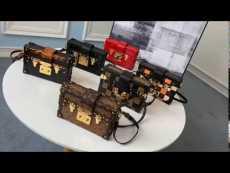 high quality replica LV petite malle crossbody box bag clamshell phonebag aureate hardware