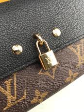 M61836 Louis Vuitton/LV monogram clamshell double-folding long purse delicate clutch with padlock decoration