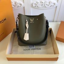 M55439 Louis Vuitton/LV olive green lockme bucket handbag crossbody bag with detachable and adjustable shoulder strap