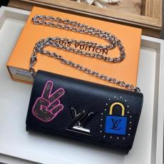 M63320 Louis Vuitton/LV  twist chain clamshell longwallet clutch sling-chain crossbody shoulder bag with V-shape rotatable closure