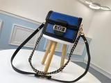 M90499 Louis Vuitton/LV mini dauphine falp double-compartment messenger crossbody bag in Vernis leather two shoulder strap