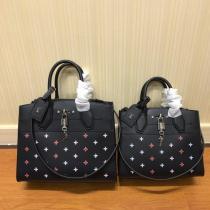 Louis Vuitton/LV mixed-material stiff- configuration  handbag  crossbody shoulder bag with silver padlock decoration
