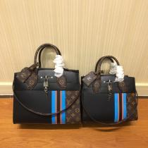 M42526 Louis Vuitton/LV mixed-material stiff- configuration  handbag  crossbody shoulder bag with silver padlock decoration