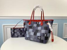 M40995 Louis Vuitton/LV damier canvas neverfull casual shopping travelling bag attached to exquisite clutch