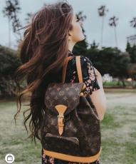 M51137 Louis Vuitton/LV bosphore monogram canvas travelling backpack witch slim drawstring closure
