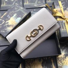 Gucci horsebit  female clamshell three-folding multi-slots long wallet purse clutch card holder in pebbled cowhide leather