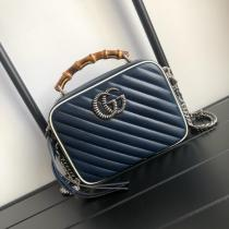 Gucci marmont V-shape quited portable camera bag bamboo handle casual crossbody sling-chain shoulder bag  small size