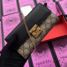 Gucci clamshell double-folding twist-lock long purse graceful clutch elegant sling-chain crossbody bag