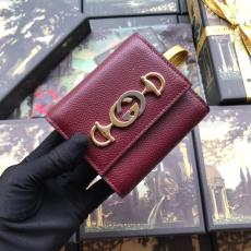 Gucci female horsebit clamshell triple-folding small wallet coin pouch multicolor for election